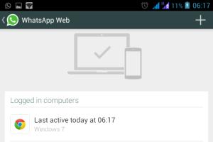 Tampilan jika Whatsapp di smartphone sudah tersambung dengan Whatsapp Web
