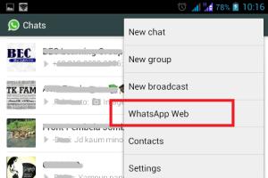 Tampilan menu Whatsapp Web